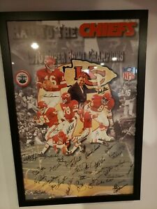 Kansas City Chiefs AUTHENTIC Signed Super Bowl Lithograph Photo Poster 1970 RARE