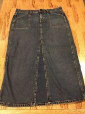 Levi Strauss Signature Blue Denim Maxi Long Length Jean Skirt Stretch  Size 16