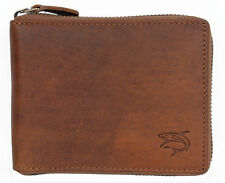 Natural genuine leather wallet with shark with metal zipper around. Fast ship.