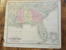 Antique Hand Colored MAP - SOUTHERN STATES OF US / Common School Geography 1873