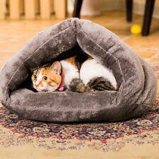 Cozy Warm Pet House Dog Cat Cave Bed Cushion Mat Pad Nest Sleeping Bag Grey