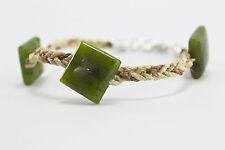Bracelet fait main luxe de jade en fibres naturelles