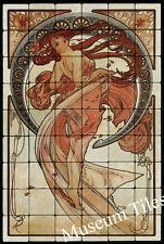 24x36 Alphonse Mucha DANCE Art Nouveau Tumbled Marble Tiles