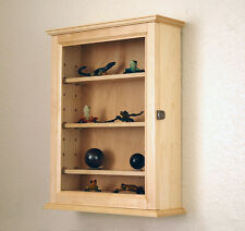 Maple Curio Display Case Wall Cabinet 4 Shelf Made In The Usa