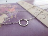 Silver Karma Necklace - Sterling Eternity Infinity Ring Circle Friendship Chain
