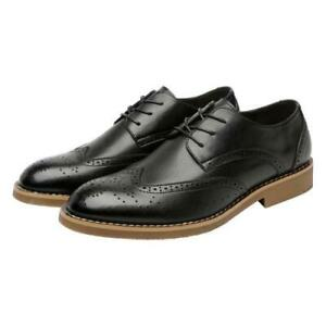 Men Formal Flat Oxford Retro Leather Carved Brogue Pointy Toe Low Top Shoes N150