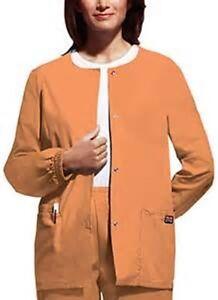 NWT Cherokee Women's Snap Front Warm-up Jacket Orange Sorbet Style 4350 S-3XL