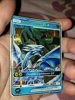 Blue Eyes w. Dragon and Zekrom Pokemon GX Tag Team Custom Card In Holo
