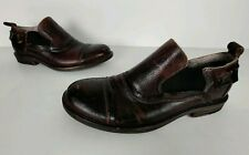 Bed Stu Mens Shoes 8.5 Brown Distressed Studded Slip On Leather Cap Toe Loafers