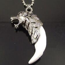 Retro Wolfzahn Wolfkopf Anhänger Halskette Klar Antik Silber Kette Keramik