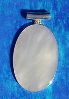 """Solid Sterling Silver 925 Mother of Pearl Shell Oval Pendant 2"""""""