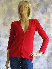 NWT LAURA SCOTT Sz M  Rocket Red Acrylic V Neck Holiday Cardigan w/ Sequins