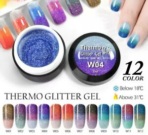 12pcs set/Temperature Change Glitter Color Gel Polish Thermal Magic Effect Nail