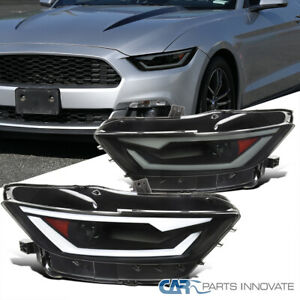 For 15-20 Mustang 18-20 Shelby HID/Xenon Black Smoke Projector Headlight+LED Bar