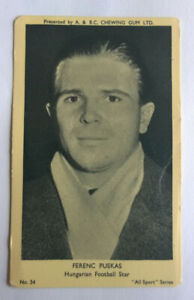 A & B C chewing gum All sport series #54 Ferenc Puskas Hungarian football star
