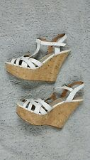 STEVE MADDEN Wildness White Wedges Leather Uppers Cork Heel Size 10