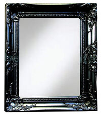 Black Shabby Chic Mirror 50x60cm Vintage Look French Wooden Frame Wall Mirror