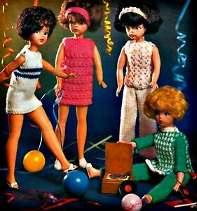 Sindy Barbie Knitting Pattern Dolls Clothes 4 ply Cat Suit, Tabard, Dresses