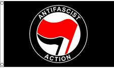 Anti-Fascist Action Anti-Racism Red 5'x3' Flag