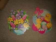 2 Vtg Dennison Easter Basket Die Cut Cardboard Decorations 10 by 8
