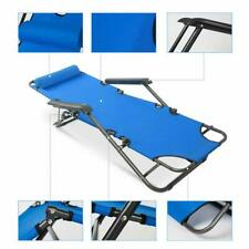 Metal Folding Chaise Lounge Chair Patio Garden Pool Beach Lawn Recliner Yard