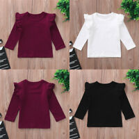 Toddler Baby Girls Long Sleeve Blouse Ruffles O-Neck Tops Solid T Shirts Clothes