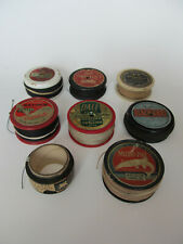 Lot of 8 Old Wooden and Plastic Fishing Line Spools - Newton's, Norwich + More