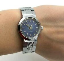 Retro Luch Mini Esfera Azul Mujer Pulsera Plata Vintage Reloj Analógico Original