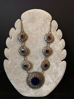 Vintage 1970s Tribal Ethnic Silver Artisan Statement Necklace Boho Hippie VTG