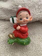Vintage Josef Original Christmas Pixie Elf With Present Japan