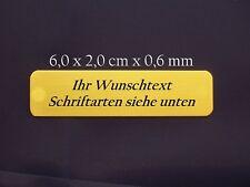 Namensschild Türschild Messing poliert 6 x 2 x 0,06 cm mit Gravur selbstklebend