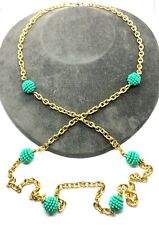 Vintage 90's Gold Tone Flapper Style Mint Green Long Chain Necklace