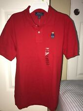 NWT Ralph Lauren Boys RedTeddy Bear  Polo Shirt  Sz. Large  14-16