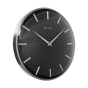 "Bulova C4849 Metro 16"" Contemporary Metal Wall Clock, Satin Pewter/Matte Black"