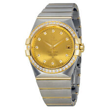 Omega Constellation Champagne Dial Steel and 18kt Yellow Gold Diamond Ladies