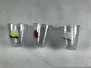 3 - Tervis Tumblers Fly Fishing Lures Angler 12 Oz Plastic Cups Made in USA