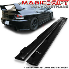"UNIVERSAL JDM STYLE POLY-URETHANE PU SIDE SKIRTS FLAT EXTENSION 75"" x 3.5"""
