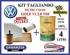 KIT TAGLIANDO FILTRI + OLIO BARDAHL 5W30 4LT VW GOLF VI 2.0 TDI