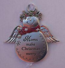 m Moms make Christmas Merry SNOWMAN ANGEL Christmas ORNAMENT Ganz mom snow