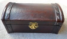 decorative wood chest box Tabletop nautical treasure rustic latch closure lined