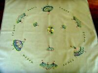 VINTAGE HAND EMBROIDERED LINEN TABLECLOTH ~ BEAUTIFUL BALLERINAS