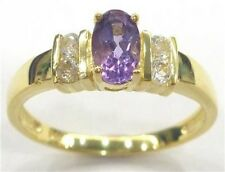 14KT GOLD and SILVER GENUINE AMETHYST & WHITE TOPAZ RING Sz N1/2
