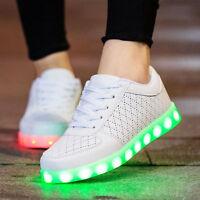 Unisex Couples LED Light Lace Up Luminous Shoes Sportswear Sneaker Luminous New