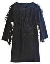 $2.4K ISABEL MARANT BLACK SUEDE NAVAJO FRINGE MINI DRESS (RUNWAY FAVE!)~ 0 / XS