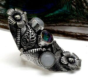 """925 Sterling Silver Mystic Topaz & Moonstone Gemstone Jewelry Ring (US)Size-8"""""""