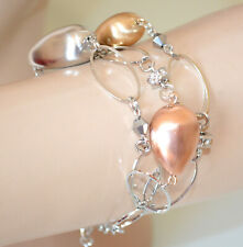 BRACELET femme ARGENT pendentifs pierre doré or rose chaîne élégant bracelet N32