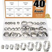 "40Pcs 1/4""-15/16"" Stainless Steel Single Ear Hose Clamps Clips Pex Pinch Kit For"