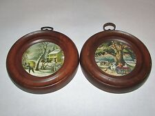2 Vintage Currier & Ives Style Wall Hangings Prints Picture Winter Farm Carriage