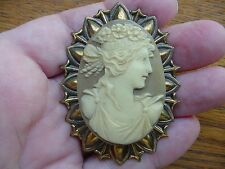 (Cm51-2) Roman woman tan ivory oval Cameo Pin brooch Jewelry cameos Flowers