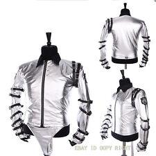 Rare Punk MJ Michael Jackson Classic BAD Tour Silver Bodysuit Jacket Outerwear
